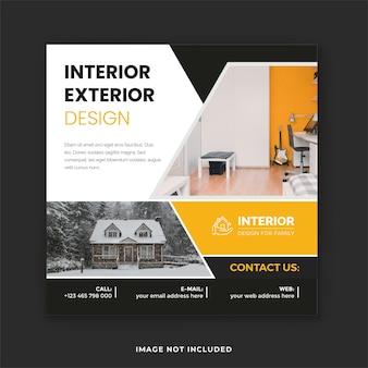 Modello di post sui social media dell'azienda di interior design moderno e design quadrato per post instagram