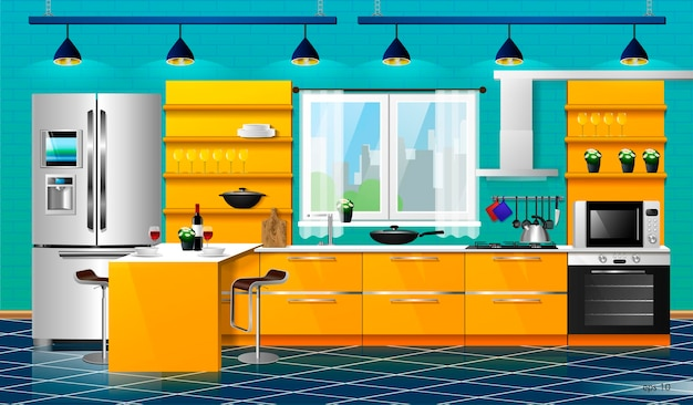 Interni moderni della cucina arancione. illustrazione vettoriale. elettrodomestici da cucina armadi, mensole, fornelli a gas, cappa aspirante, frigorifero, forno a microonde, lavastoviglie, pentole