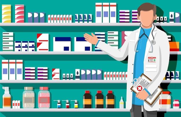 Interni moderni di farmacia e farmacista maschio. medicina pillole capsule bottiglie vitamine e compresse. vetrina della farmacia. scaffali con medicinali. droga medica, assistenza sanitaria. illustrazione vettoriale piatta