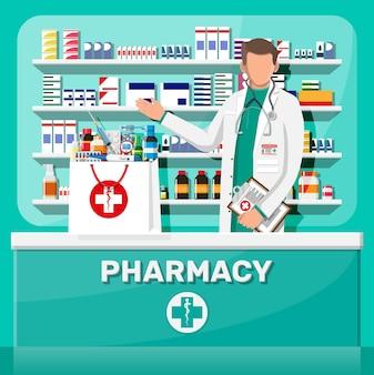 Interni moderni di farmacia e farmacista maschio