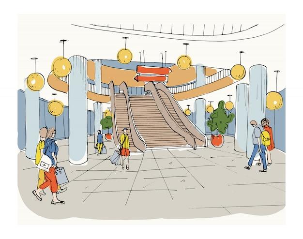 Centro commerciale interno moderno, centro commerciale. illustrazione schizzo colorato.