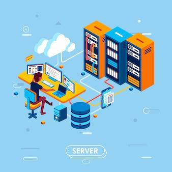 Progettazione isometrica moderna della gestione del server cloud, uomo che lavora nella stanza del centro dati che gestisce i dati nell'illustrazione di vettore del server cloud