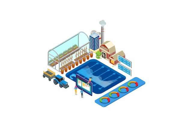 Illustrazione isometrica moderna del monitoraggio di tecnologia agricola