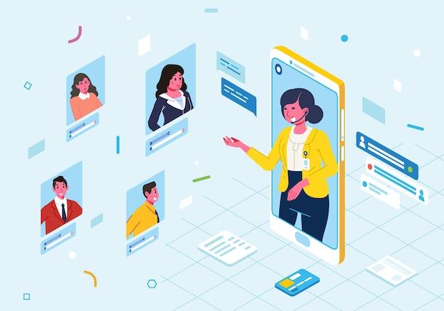 Illustrazione isometrica moderna del servizio clienti in ambito bancario, con incontro online con il cliente nell'app mobile
