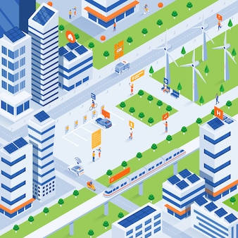 Illustrazione isometrica moderna - eco smart city concept