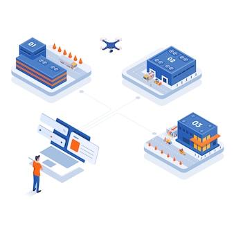 Illustrazione isometrica moderna - shopping online e consegna