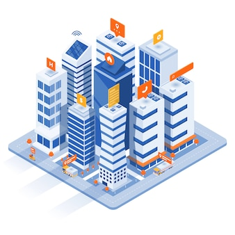 Illustrazione isometrica moderna - smart city concept