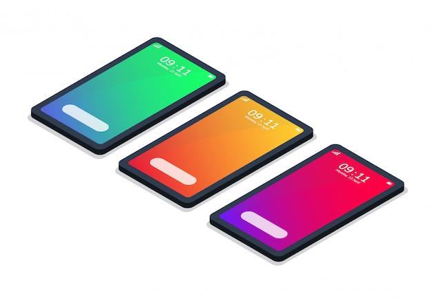 Telefono mockup isometrico moderno con estate di colore sfumato