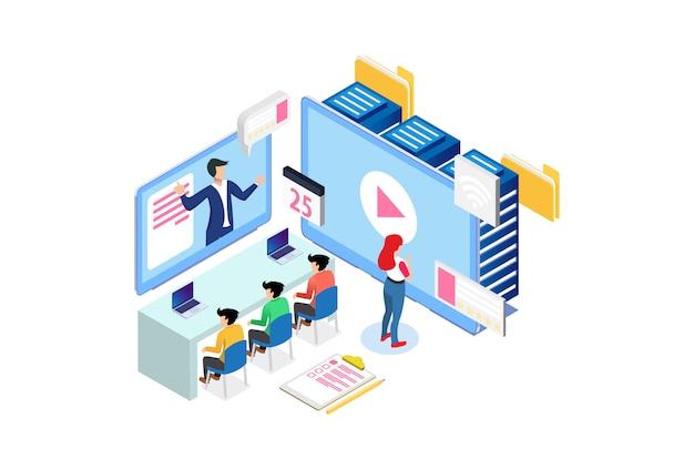 Illustrazione astuta isometrica moderna di tecnologia di e-study