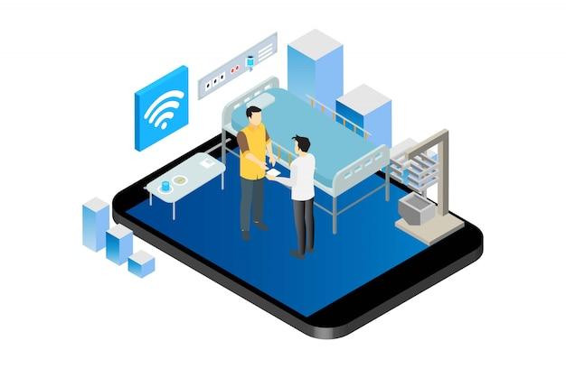 Illustrazione online astuta isometrica moderna del dottore consultation