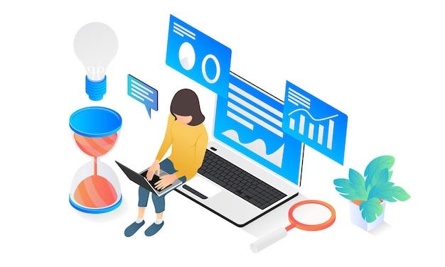 Illustrazione in stile isometrico moderno dell'analisi dei dati aziendali con personaggio e laptop