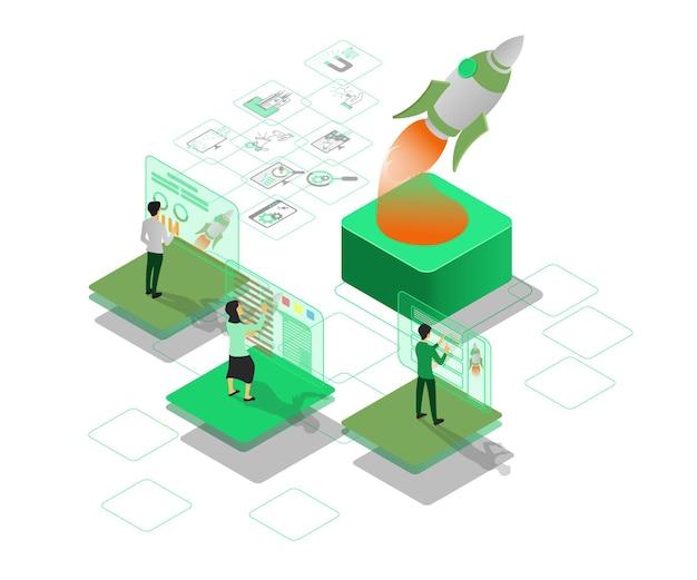 Moderna illustrazione in stile isometrico del lancio di un razzo di strategia di marketing