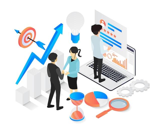Moderna illustrazione vettoriale isometrica sul progresso di un business rapidamente con i personaggi
