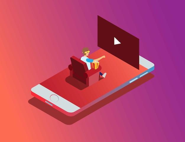 Isometrico moderno guarda film in smartphone stream movie online cinema home illustration