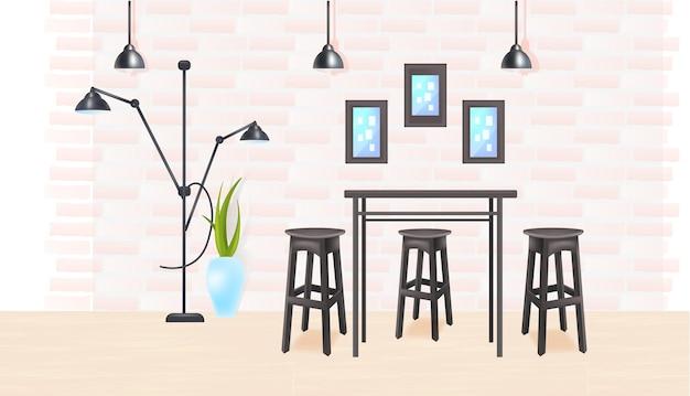 Cucina moderna interna vuota nessuna stanza di casa di persone o bar con tavolo e sedie illustrazione vettoriale orizzontale