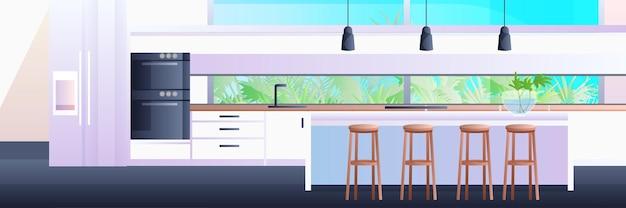 Interno della cucina moderna vuoto nessuna illustrazione orizzontale della stanza della casa delle persone