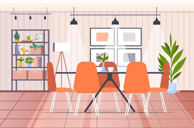 L'interno della cucina moderna non svuota l'illustrazione orizzontale di vettore della stanza della casa delle persone