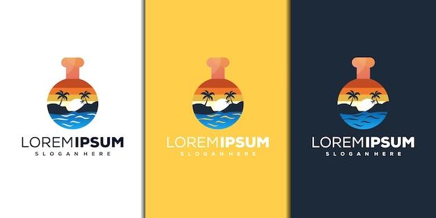 Design moderno del logo del laboratorio e della spiaggia