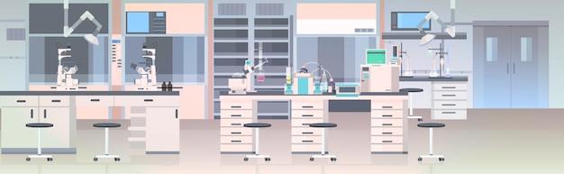 Interno moderno del laboratorio non svuota laboratorio chimico della gente con orizzontale della mobilia