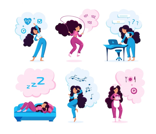 Set di caratteri di attività moderne lady hobby