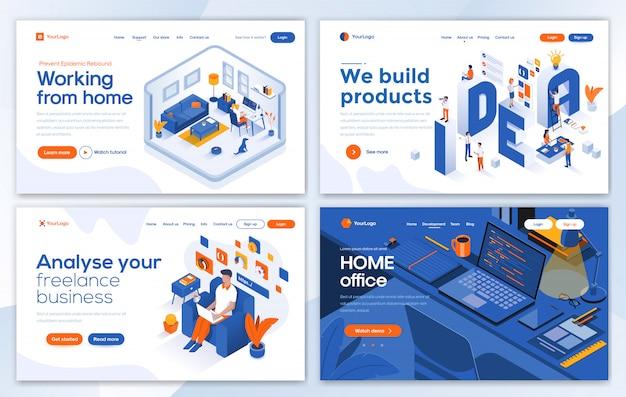 Modern of landing page template - lavorare da casa