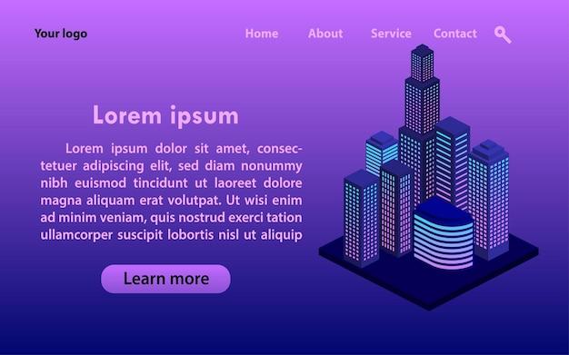 Pagina di destinazione moderna con grattacielo isometrico della città