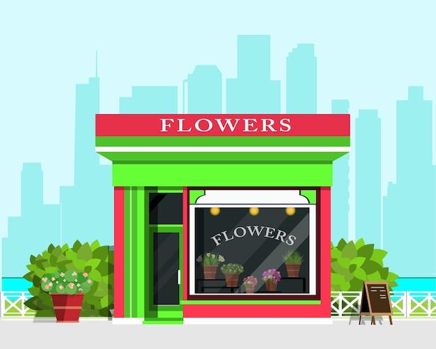 Paesaggio moderno con l'icona del negozio di fiori, recinzione, fiori e cespugli. illustrazione
