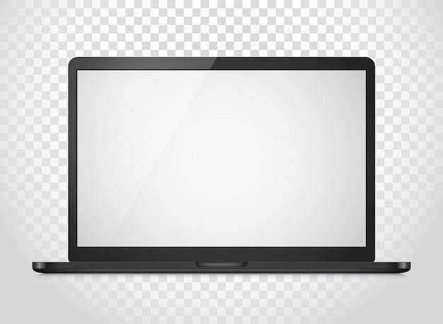 Mockup di vettore di computer portatile moderno isolato su sfondo trasparente. illustrazione fotorealistica del taccuino di vettore. modello per un contenuto