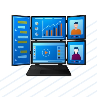 Computer portatile moderno con più schermi per videoconferenze e intrattenimento di comunicazione di lavoro