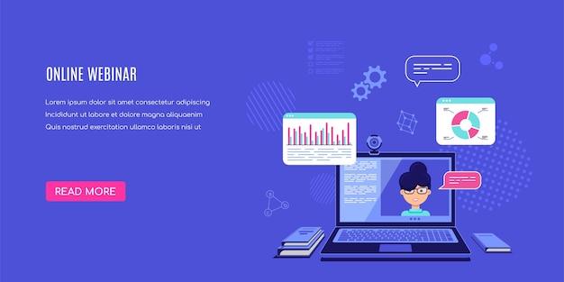 Computer portatile moderno con lettore video online sullo schermo. webinar online, video tutorial, formazione online. illustrazione.