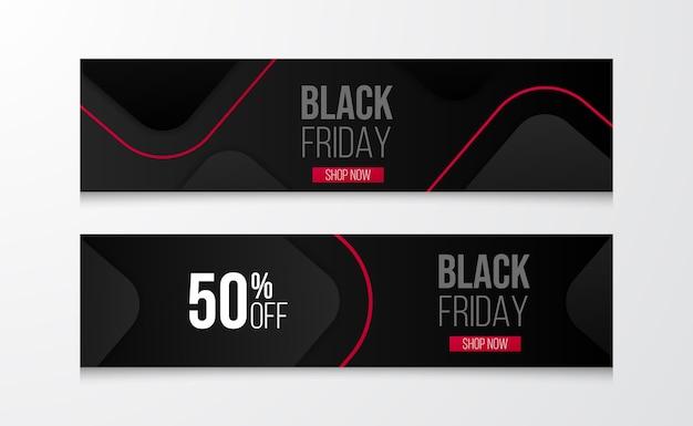 Layout moderno per il modello di banner sconto offerta vendita venerdì nero con modello geometrico e linea.