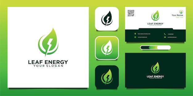 Design moderno del logo e biglietto da visita dell'energia delle foglie