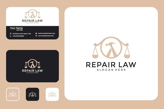Moderno design del logo di riparazione legale e biglietti da visita
