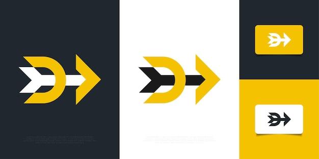 Modello moderno di progettazione di logo della lettera d con il concetto della freccia. simbolo d per la tua azienda e identità aziendale