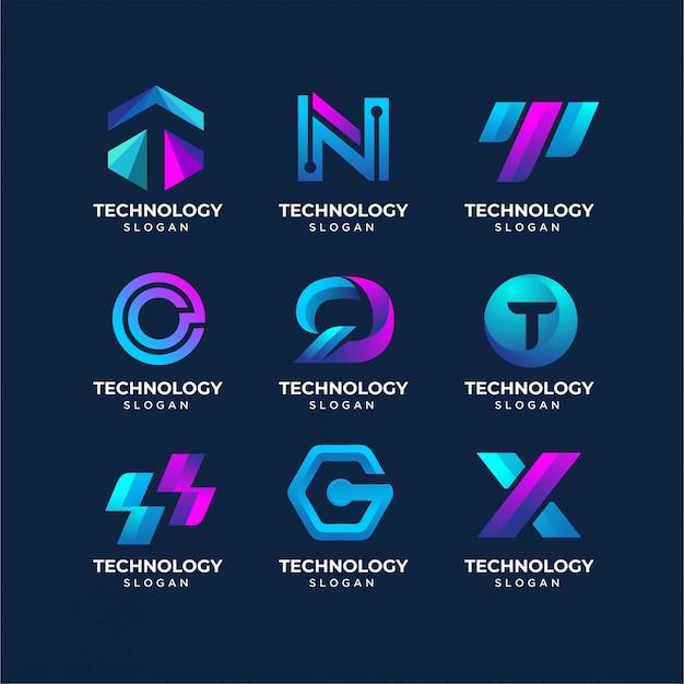 Modelli di logo tecnologia lettera moderna