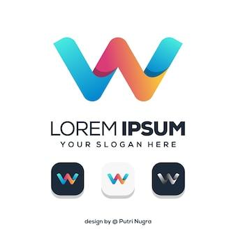 Design moderno lettera w logo