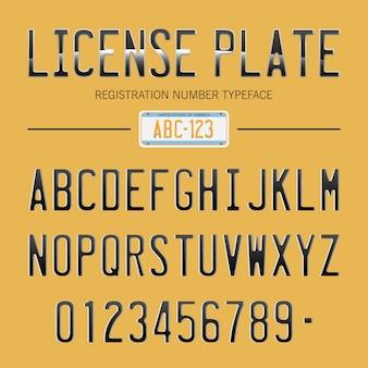 Carattere di targa moderna per i numeri di registrazione, con campione sullo sfondo