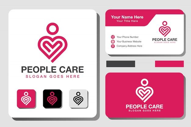 Le persone di linea moderna si preoccupano del logo. logo di arte linea cuore con modello di progettazione di biglietto da visita
