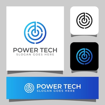 Simbolo di potenza di linea moderna con logo di tecnologia del cerchio