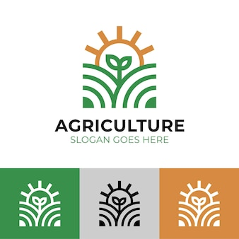 Moderna agricoltura lineare con piante naturali e sole per il design del logo dell'agricoltore agricolo