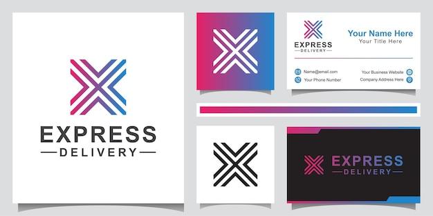 Design moderno del logo della logistica di consegna. lettera x con il concetto di logo simbolo freccia con biglietto da visita