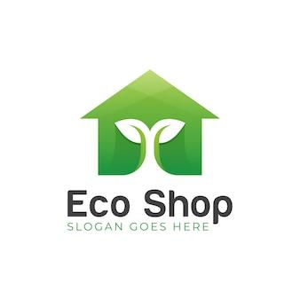 Design moderno del logo del simbolo organico del negozio di eco con l'illustrazione dell'icona dell'albero e della casa della pianta