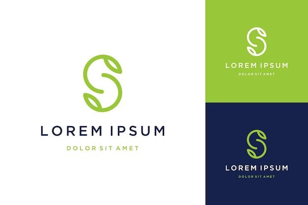 Logo design moderno o monogramma o lettera iniziale s con foglie