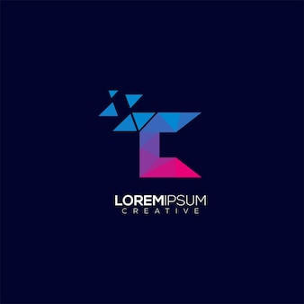 Modello moderno di vettore variopinto geometrico di tecnologia della lettera di logo