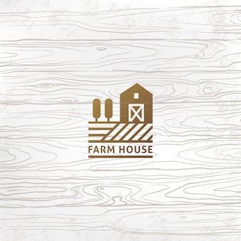 Logo moderno stile fattoria lineare o produzione con un posto per il testo o il nome dell'azienda.