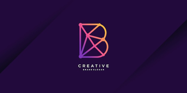 Logo moderno con la b iniziale per la tecnologia vettoriale della persona del settore dell'azienda parte 1