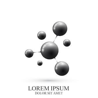 Logotipo moderno icona dna e molecola