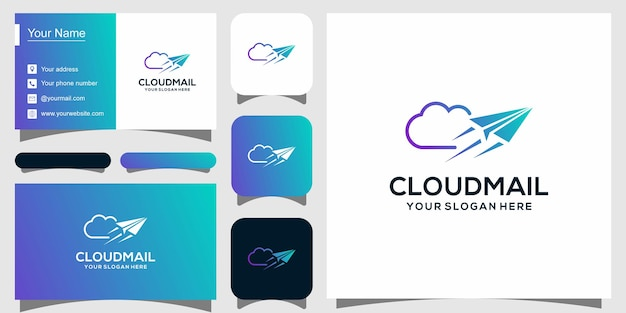 Modello di logotipo moderno per hosting cloud e biglietto da visita