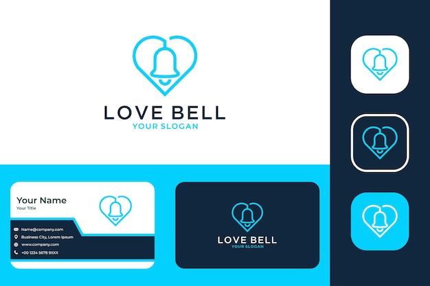 Design moderno del logo e biglietto da visita dell'arte della campana dell'amore