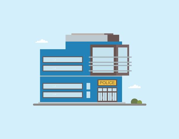 Vista frontale dell'edificio moderno della stazione di polizia di pochi piani. illustrazione vettoriale piatto colorato.